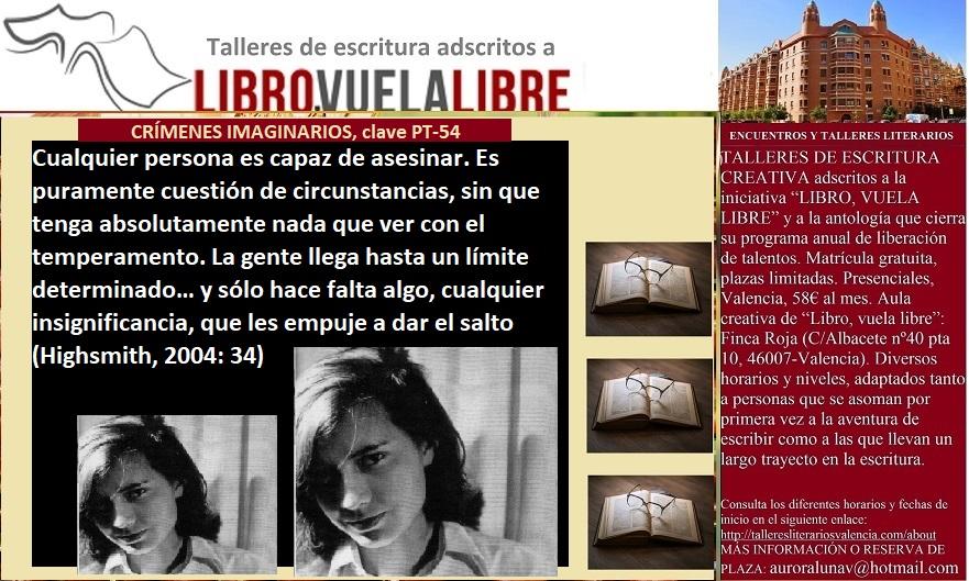 CRÍMENES IMAGINARIOS. Talleres literarios en Valencia, clave PT-54