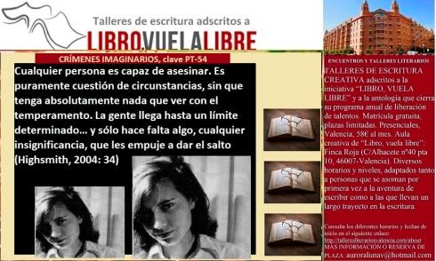Crímenes imaginarios, actividades de la clave PT-54 en los talleres literarios de LIBRO, VUELA LIBRE en Valencia